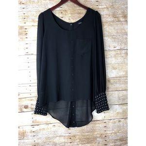 Foreign Exchange Black Hi/Lo Studded Sheer blouse